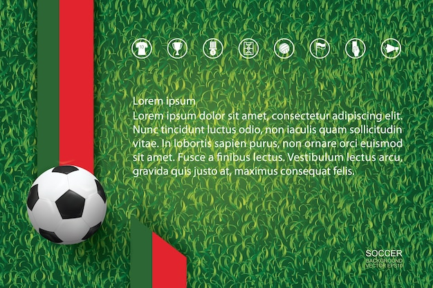 Fundo do campeonato mundial de futebol. fundo de imagem de equipe nacional com bola de futebol em padrão e textura de grama verde.
