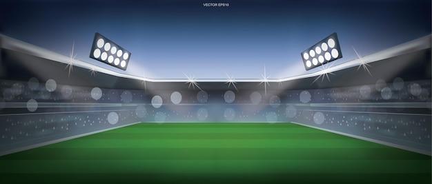 Fundo do campo de futebol ou do estádio do campo de futebol. ilustração vetorial.