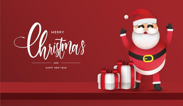 Fundo do cartão de feliz natal e feliz ano novo com o papai noel e presentes realistas