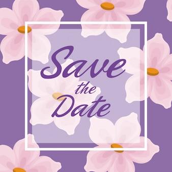 Fundo do cartão de lilás com flores decorativas e quadro quadrado economize o texto da data