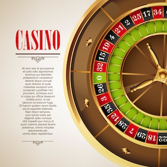 Fundo do cartaz do logotipo do casino ou flyer. convite de casino ou modelo de banner com roda de roleta. design de jogo. jogando jogos de cassino. ilustração vetorial