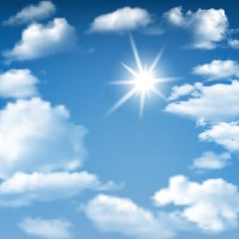 Fundo do céu azul ensolarado com nuvens