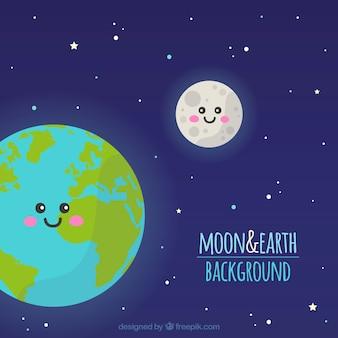 Fundo do céu com a terra ea lua