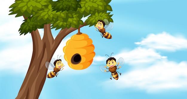 Fundo do céu com abelhas e colmeia na árvore