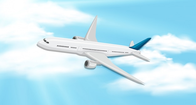 Fundo do céu com avião voando