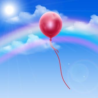 Fundo do céu com balão vermelho, ilustração editável em estilo realista