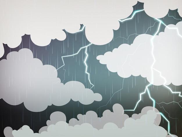Fundo do céu com chuva e trovões