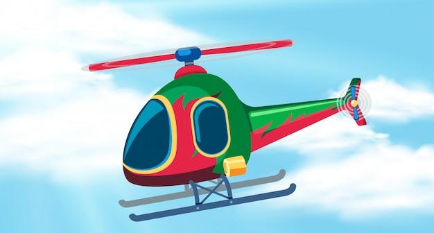 Fundo do céu com helicóptero voando