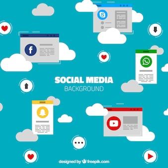Fundo do céu com nuvens e redes sociais