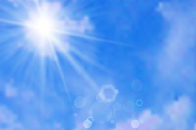 Fundo do céu com nuvens e sol
