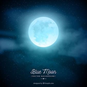Fundo do céu da noite com lua em tons de azul
