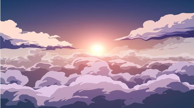 Fundo do céu do pôr do sol com sol e nuvens