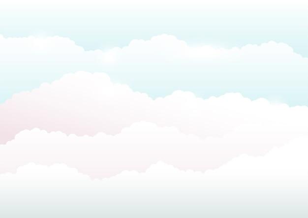 Fundo do céu e nuvens, ilustração em cores suaves