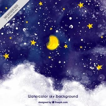 Fundo do céu estrelado pintado com aguarelas