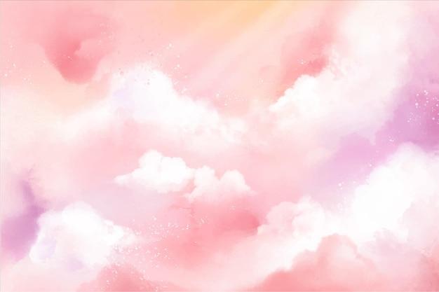 Fundo do céu pintado à mão em tons pastel