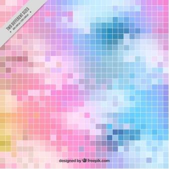 Fundo do céu pixels coloridos com nuvens