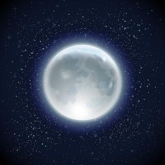 Fundo do céu realista lua cheia