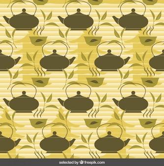Fundo do chá com bules e xícaras de chá