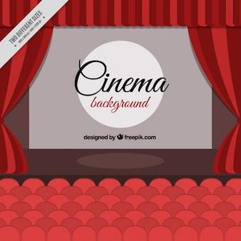 Fundo do cinema com assentos vermelhos e cortinas