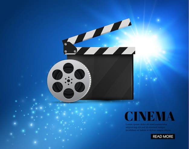 Fundo do cinema com fundo de movie.blue com estrela clara. clapper board.
