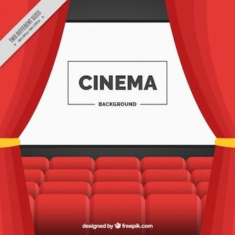 Fundo do cinema com tela e vermelhas cortinas