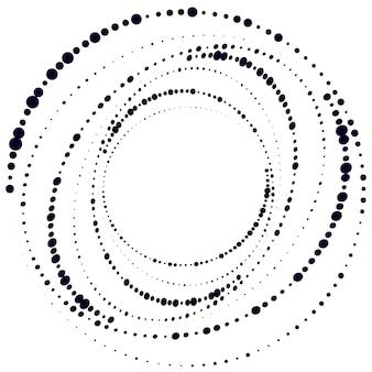 Fundo do círculo abstrato dos pontos modelo de logotipo em forma de espiral de meio-tom com linhas de velocidade pontilhadas