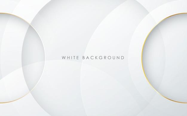 Fundo do círculo branco com efeito de linha ouro