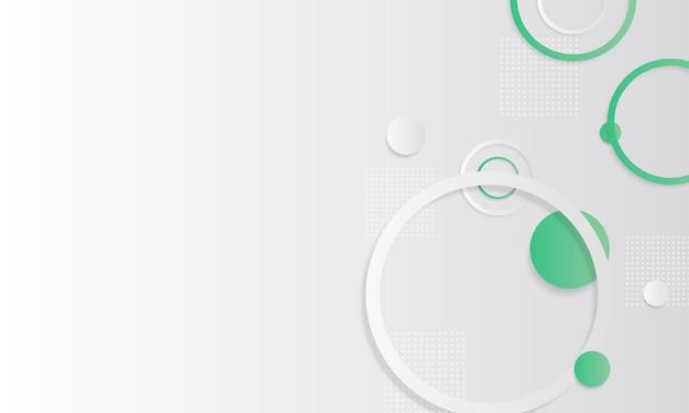 Fundo do círculo geométrico gradiente branco e verde. padrão para anúncios, folhetos.