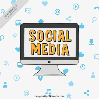 Fundo do computador com ícones sociais dos media