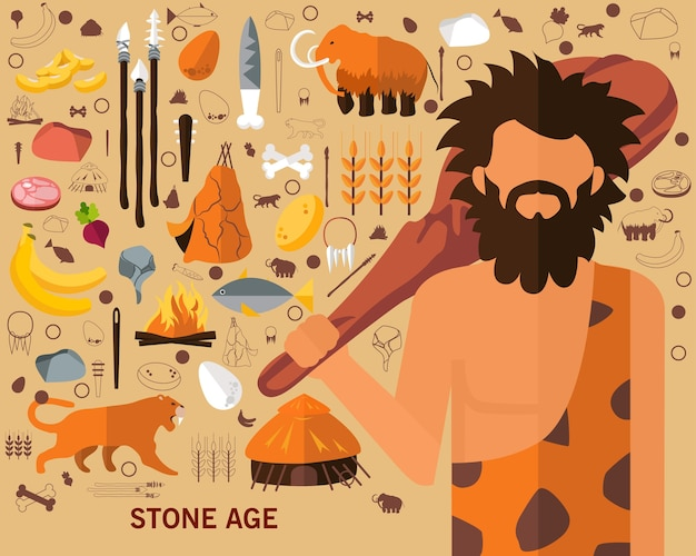 Fundo do conceito da idade da pedra. ícones planas.