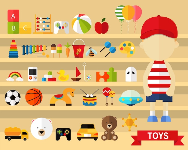 Fundo do conceito de brinquedos. ícones planas.
