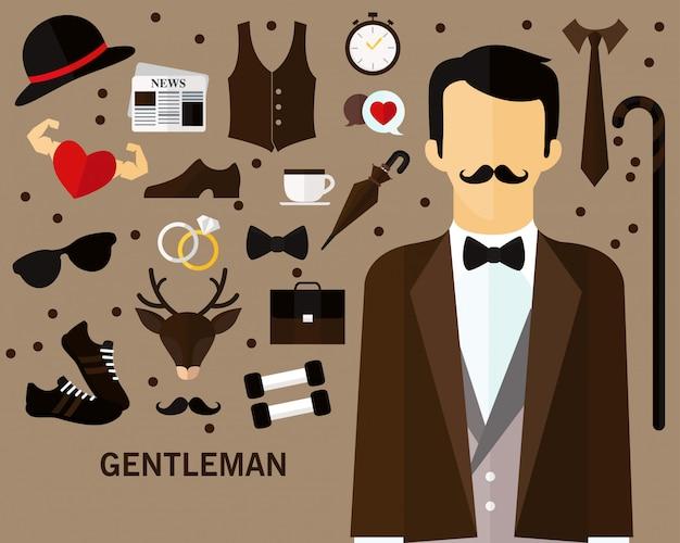 Fundo do conceito de cavalheiro