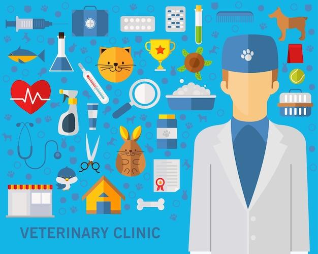 Fundo do conceito de clínica veterinária. ícones planas.