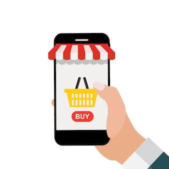 Fundo do conceito de compras on-line com a mão segurando o telefone do mercado móvel. ilustração