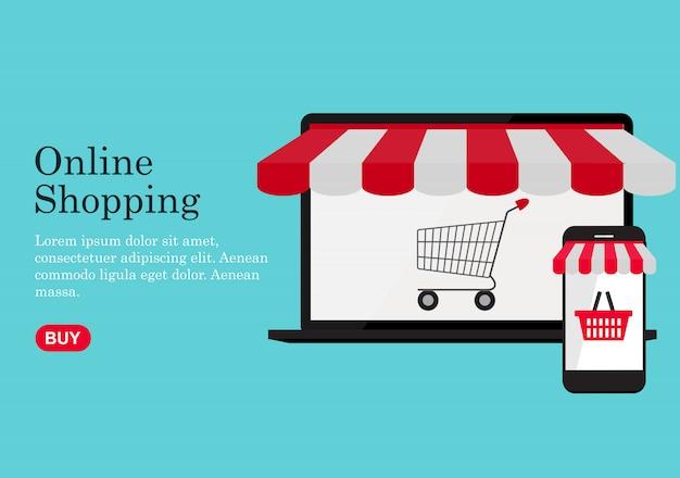 Fundo do conceito de compras online. ilustração