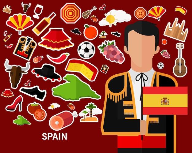Fundo do conceito de espanha. ícones planas