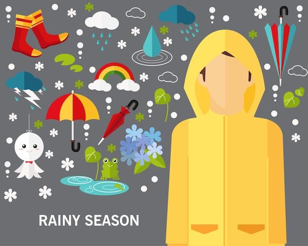 Fundo do conceito de estação chuvosa.