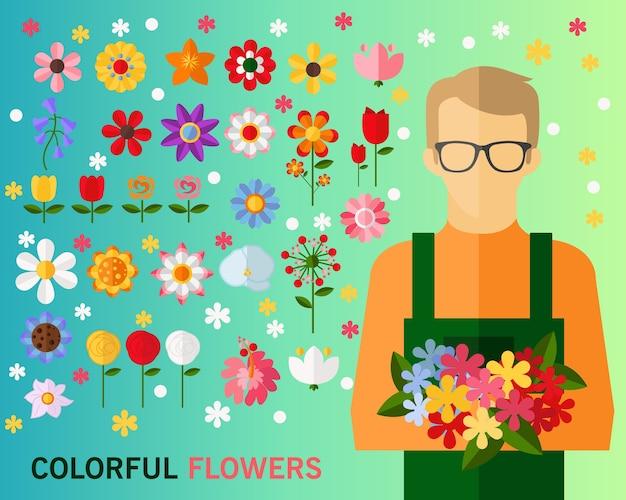 Fundo do conceito de flores coloridas. ícones planas.