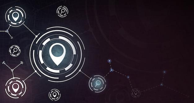 Fundo do conceito de gps com ícone pin e pesquisa