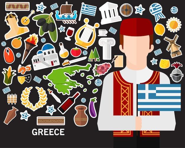 Fundo do conceito de grécia. ícones planas