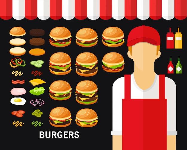 Fundo do conceito de hambúrgueres