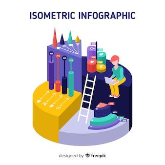 Fundo do conceito de infográfico isométrica