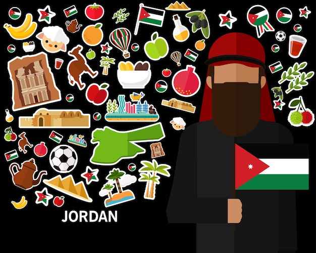 Fundo do conceito de jordan. ícones planas