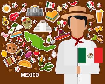 Fundo do conceito de México. Ícones planas