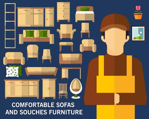 Fundo do conceito de mobiliário confortável. ícones planas.
