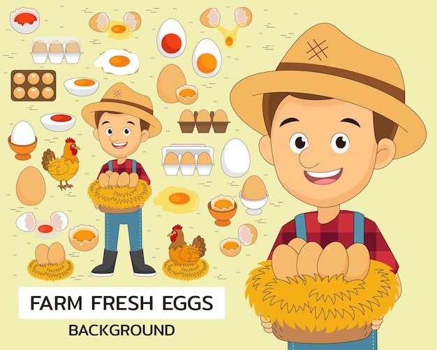 Fundo do conceito de ovos frescos de fazenda. ícones planos.