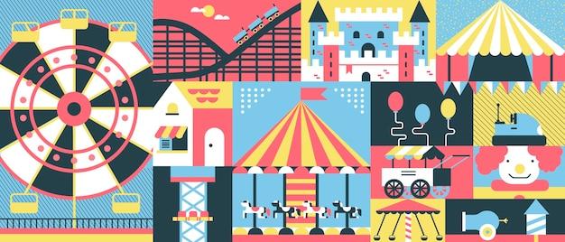 Fundo do conceito de parque de diversões