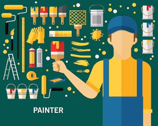Fundo do conceito de pintor.