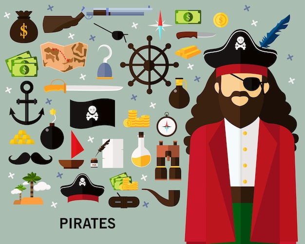 Fundo do conceito de piratas