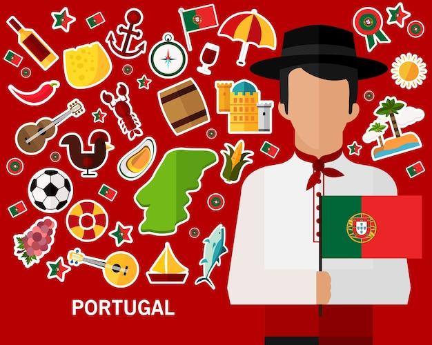 Fundo do conceito de portugal. ícones planas
